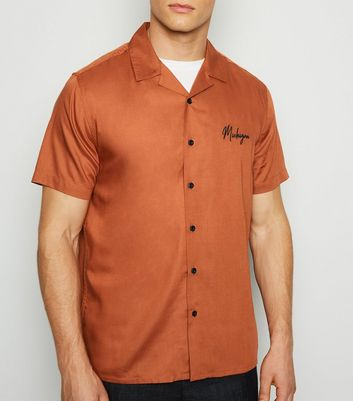 Camel Michigan Embroidered Slogan Shirt