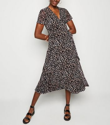 Brown Leopard Print Mesh Wrap Midi Dress