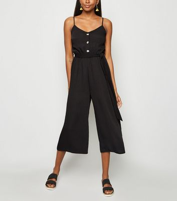 Black Herringbone Button Front Strappy Jumpsuit