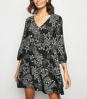 Black Floral V Neck Smock Dress
