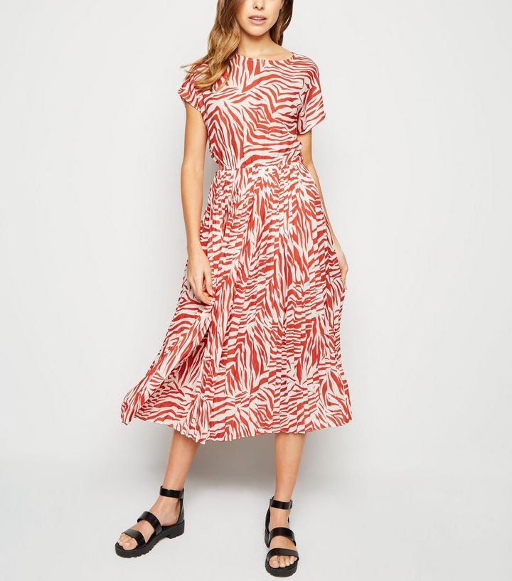 d2fbe93641f55 White Zebra Print Pleated Midi Dress Add to Saved Items Remove from Saved  Items