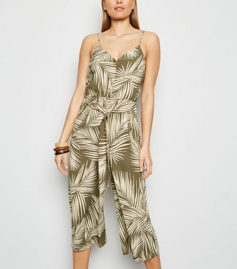 aa5dc801cdd ... Green Leaf Print Belted Jumpsuit ...