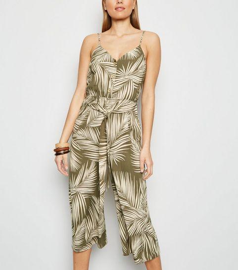 12214593833 ... Green Leaf Print Belted Jumpsuit ...
