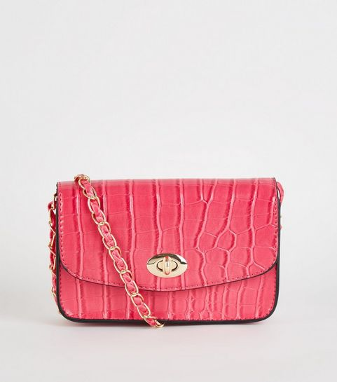 ... Bright Pink Faux Croc Chain Shoulder Bag ... 5600b179efa60