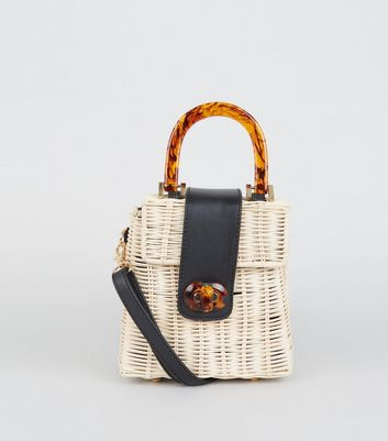 Stone Straw Resin Handle Bag