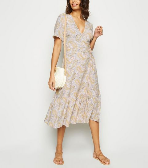 53b4f5767d ... Off White Paisley Tiered Wrap Dress ...