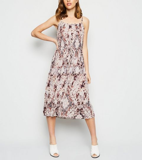 49b2ef83a12 ... White Tie Dye Pleated Midi Dress ...