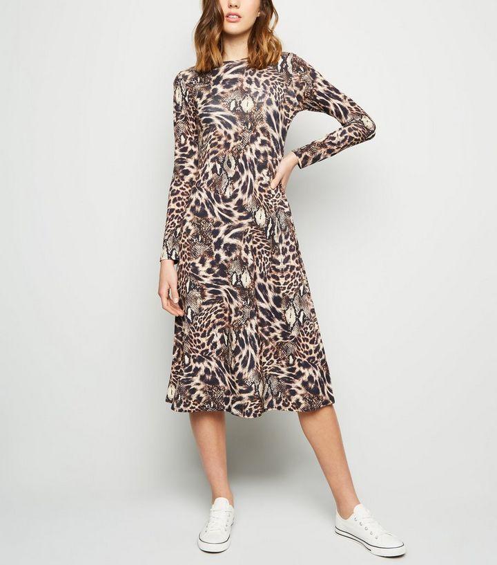56856217303cc Brown Animal Print Midi Dress