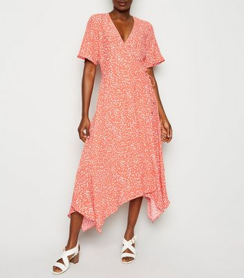 Pink Spot Print Hanky Hem Wrap Midi Dress
