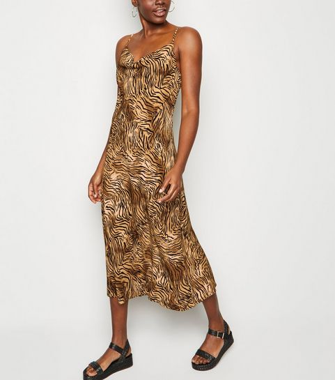 de90c646fe5 ... Brown Tiger Print Cowl Neck Midi Slip Dress ...