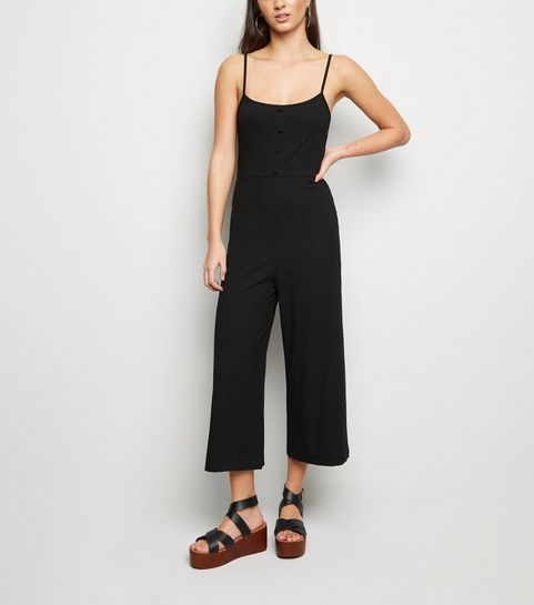 18d0cad19e ... Black Ribbed Button Front Strappy Jumpsuit ...