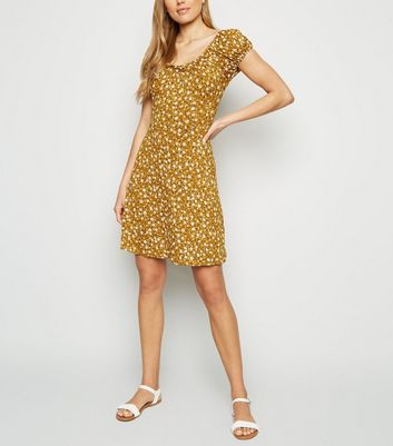 Mustard Ditsy Floral Tie Neck Dress