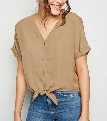 Camel Tie Front Button Up V Neck Shirt