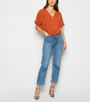 Rust Tie Front Button Up V Neck Shirt