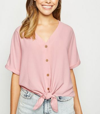Pink Tie Front Button Up V Neck Shirt