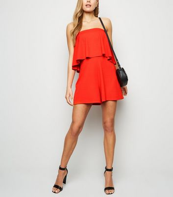 Red Frill Bandeau Playsuit