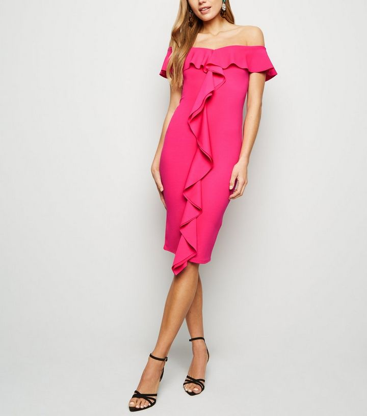 793856862f Bright Pink Ruffle Front Bardot Midi Dress