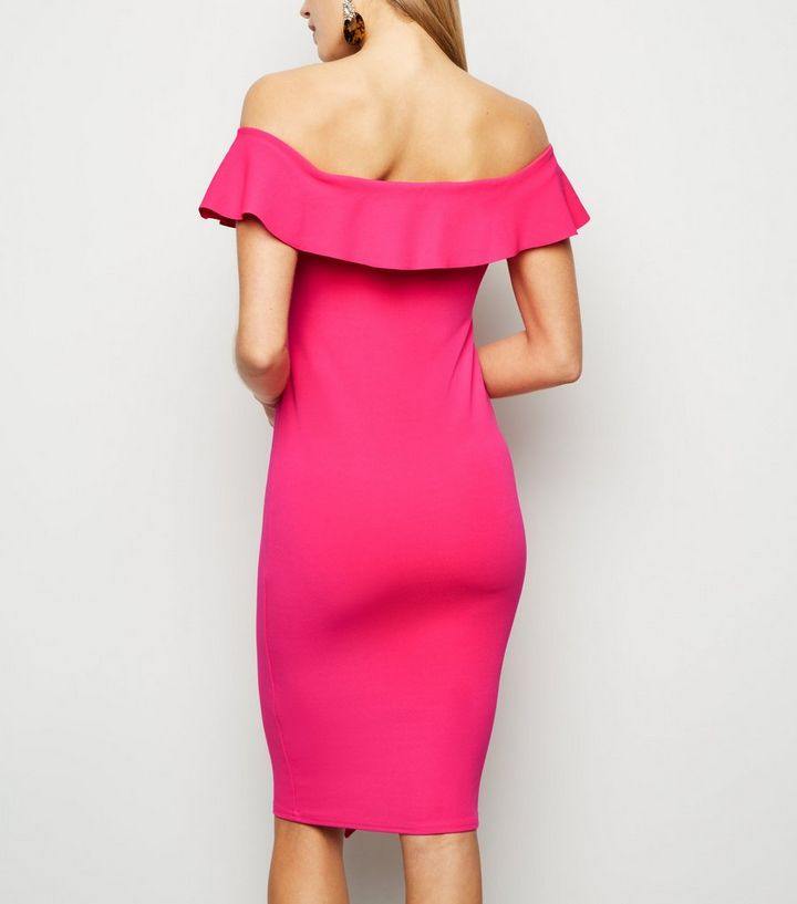 dbb29537b8 ... Bright Pink Ruffle Front Bardot Midi Dress. ×. ×. ×. Shop the look
