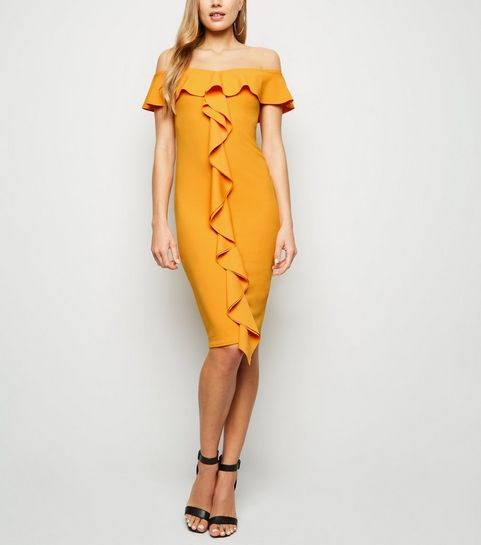 f414b6f528 ... Orange Ruffle Front Bardot Midi Dress ...