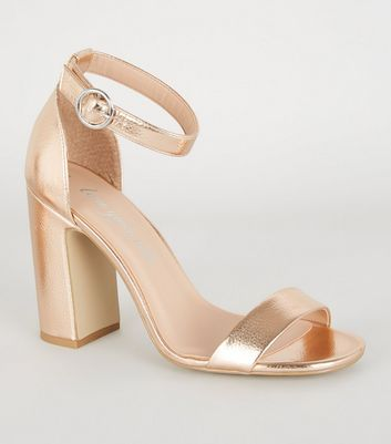 Rose Gold Metallic 2 Part Block Heels
