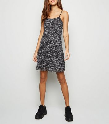 Black Ditsy Floral Mesh Mini Dress