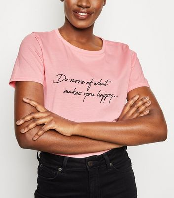Mid Pink Happy Slogan T-Shirt