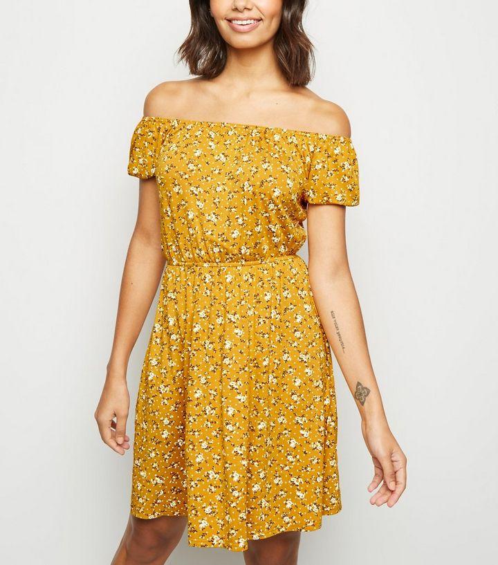 bd4aeaae28 Yellow Ditsy Floral Bardot Skater Dress