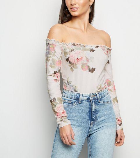 0823c83468 White Floral Frill Bardot Bodysuit · White Floral Frill Bardot Bodysuit ...
