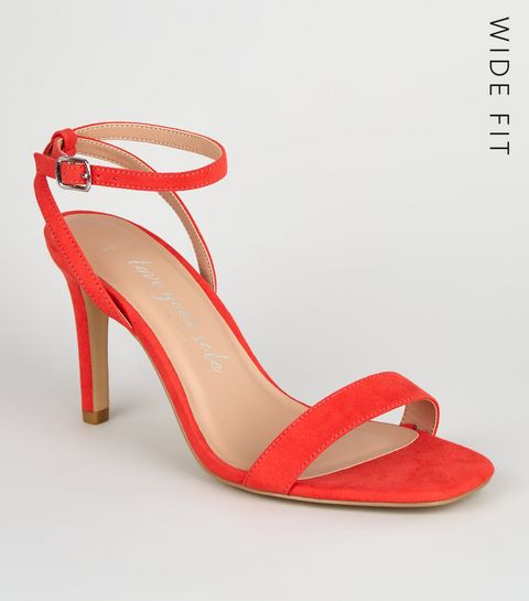 c39c7c93ffb ... Wide Fit Coral Square Toe Heeled Sandals ...