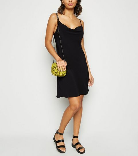 ab3f149bab ... Black Cowl Neck Mini Slip Dress ...