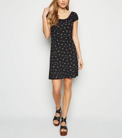 dfa1d589c62 ... Black Ditsy Floral Spot Print Milkmaid Dress ...