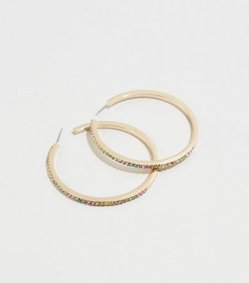 Multicoloured Stone Hoop Earrings