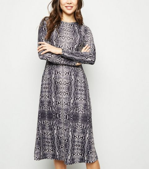 ec66d94aa7 ... Light Grey Snake Print Jersey Midi Swing Dress ...