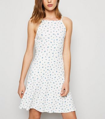 Off White Ditsy Floral Jersey Skater Dress