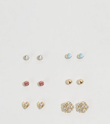 6 Pack Multicoloured Pastel Gem Stud Earrings