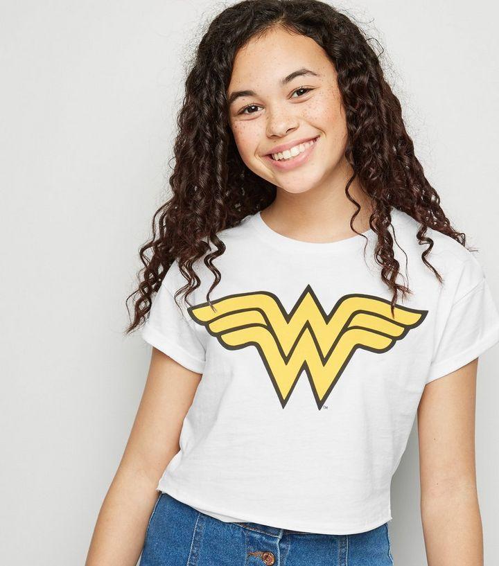 9a4564d522f7 Girls White Wonder Woman Logo T-Shirt | New Look