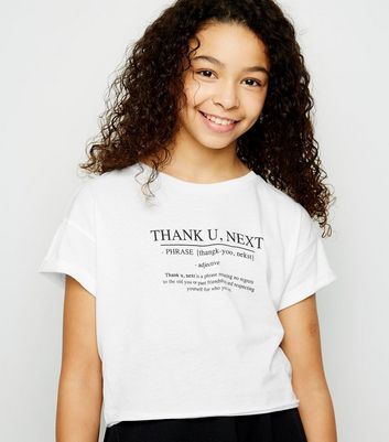 "Girls – Weißes T-Shirt mit ""Thank You Next""-Slogan"