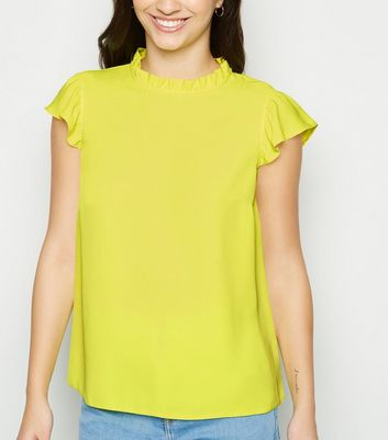 Bright Green Frill Cap Sleeve Top
