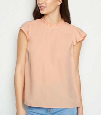 Pale Pink Frill Cap Sleeve Top