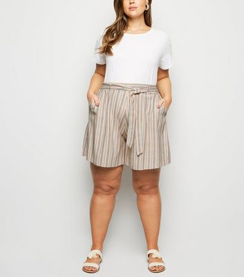 Curves White Stripe Linen Look Shorts