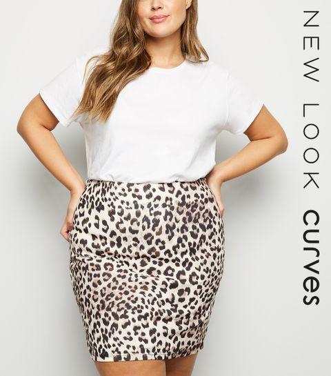 1119447cf9cfb ... Curves Brown Leopard Print Mini Skirt ...