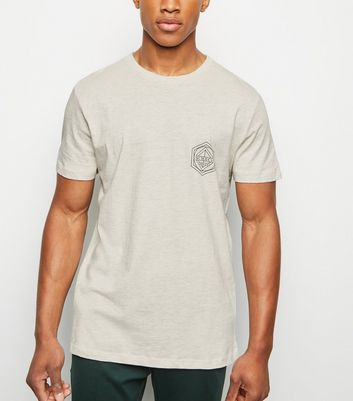 Cream Geometric BRKLYN Slogan T-shirt