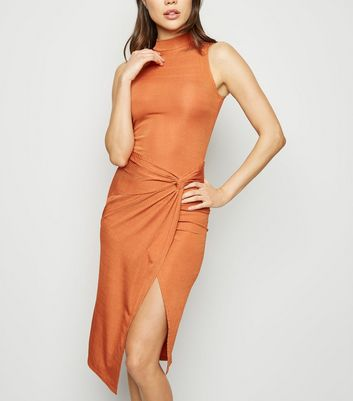 Rust Slinky Twist Front Bodycon Dress