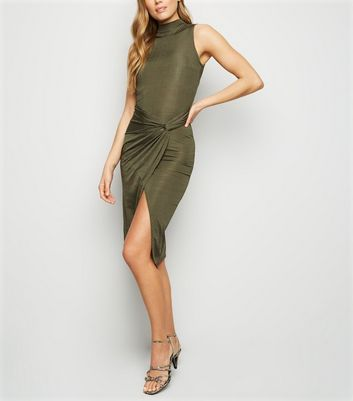 Khaki Slinky Twist Front Bodycon Dress