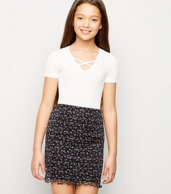 Girls Black Ditsy Floral Mesh Tube Skirt