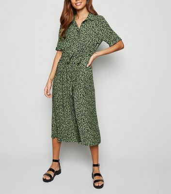 Green Spot Drawstring Waist Midi Shirt Dress by New Look