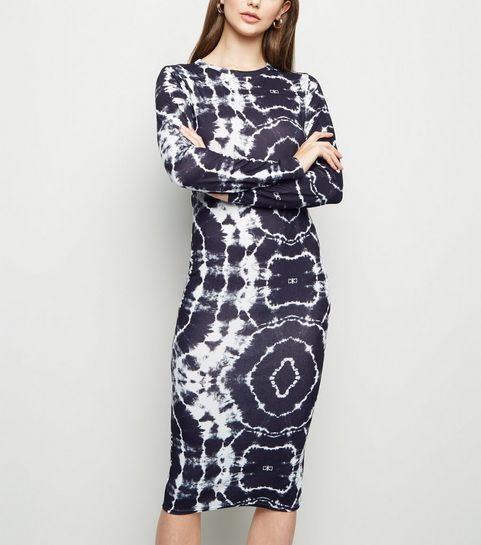... Black Tie Dye Jersey Bodycon Midi Dress ... 0764a378e161