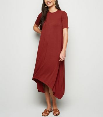 Rust Hanky Hem Jersey Midi Dress