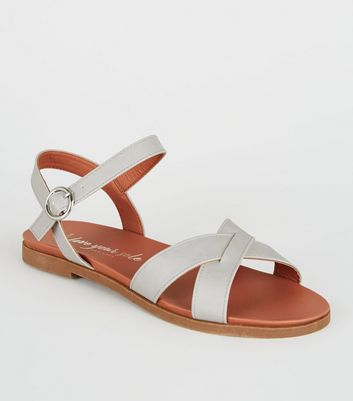 Wide Fit Grey Leather Look Cross Strap Sandals by New Look