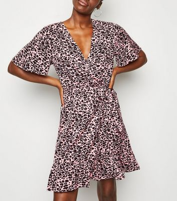 Pink Leopard Print Mini Wrap Dress
